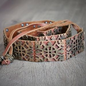 Boho Chic Leather Metal Tie Belt Hippie One Size